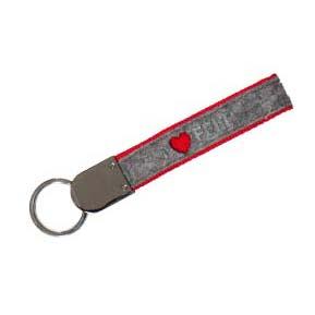Porte-clés en feutrine avec embellissement en cristal