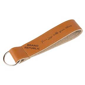 Keychain genuine leather logo embossed