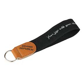 Keychain 2 in 1 with pu leather logo embossed