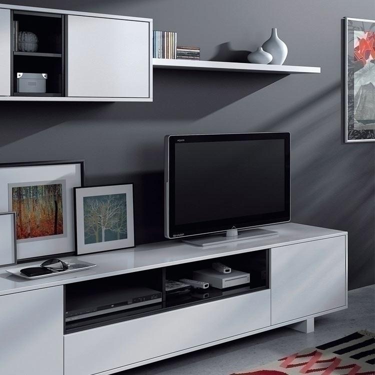 Parete attrezzata porta tv Belle bianco e nero lucidi