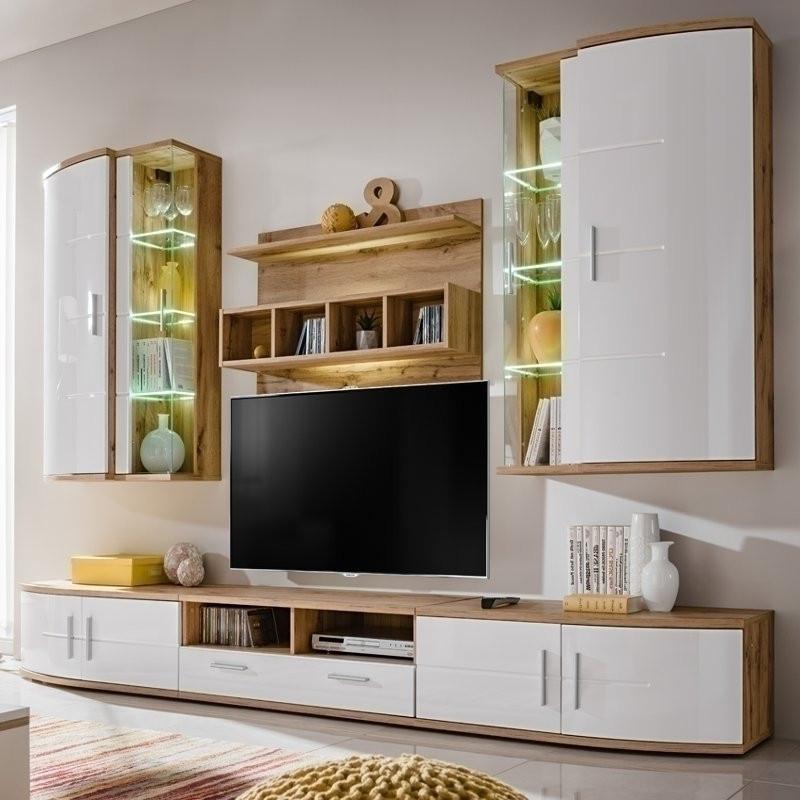 Parete attrezzata soggiorno moderno Manhattan rovere bianco lucido
