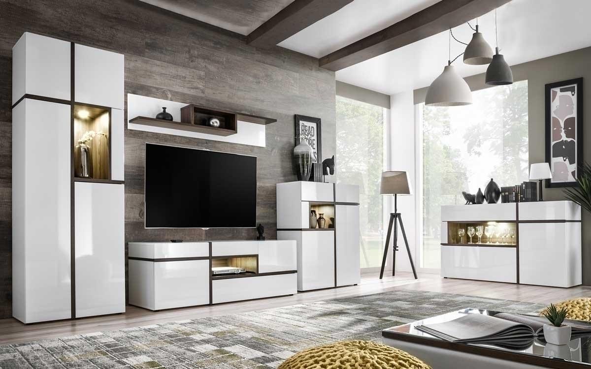 Mensola soggiorno Mackay bianco opaco bianco lucido moderno