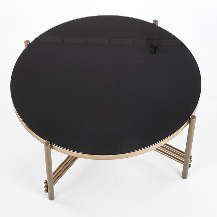 Tavolino Flam rotondo vetro nero acciaio oro salotto ...