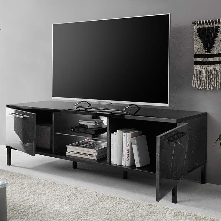 Porta tv 2 ante Mango nero lucido marmo