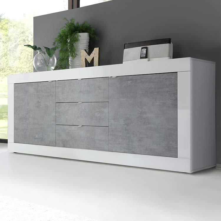 Madia moderna Basic 2 ante 3 cassetti bianco lucido cemento