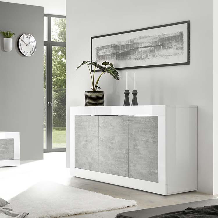 Madia moderna 3 ante Basic bianco lucido cemento