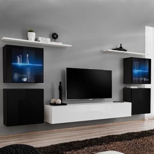 Parete attrezzata Geo 12 cubi neri porta tv e mensola bianchi