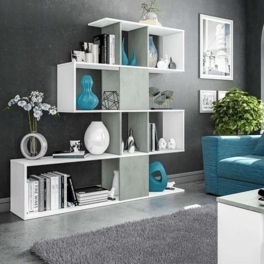 Libreria Domino bianco cemento