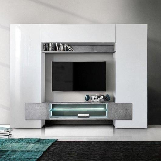 Parete soggiorno Incastro bianco lucido beton