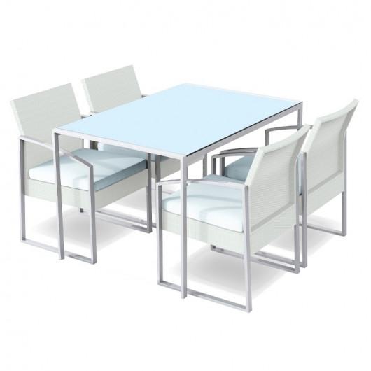 Set tavolo + 4 sedie esterno giardino Malvin bianco