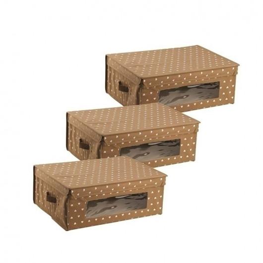 Set 3 scatole per armadio 48x36 Brown