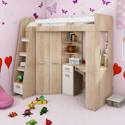 Cameretta Dollie Gihome ® sinistra rovere bianco