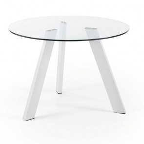 Tavolo vetro Carib con gambe bianche 130
