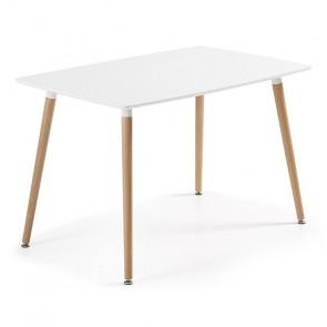 Tavolo in legno Wad rettangolare laccato bianco opaco 140