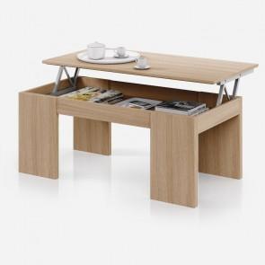 Tavolino caffè elevabile Domique legno naturale aperto