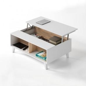 Tavolino elevabile Ines bianco e rovere