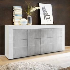 Credenza moderna 4 ante Easy bianco lucido e cemento