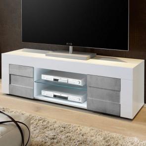 Mobile TV moderno Easy piccolo bianco e cemento
