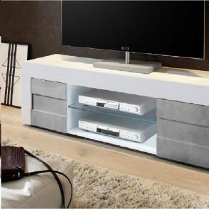 Mobile TV moderno Easy grande bianco e cemento