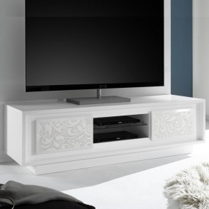 Porta TV Sky Bianco con serigrafia floreale
