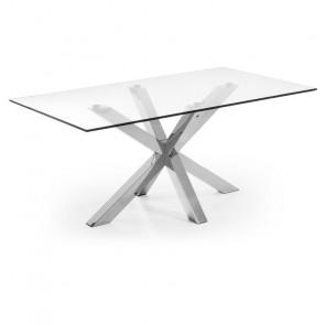 Tavolo vetro Argo con gambe in acciaio lucido