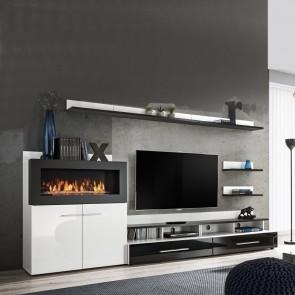 Parete attrezzata Vega soggiorno moderno biocamino bianco e nero lucido
