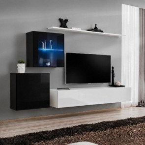 Parete attrezzata Geo 13 cubi nero porta tv e mensola bianco