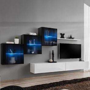 Parete attrezzata Geo 17 vetrine nero porta tv e mensola bianco