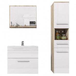 Mobile bagno Leder sospeso rovere e bianco lucido specchio