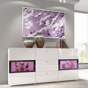 Credenza moderna Emotion Gihome ® bianca con due ante tre cassetti