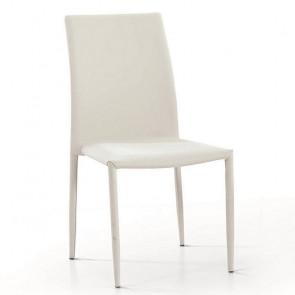 Sedia imbottita Kate in tessuto bianco