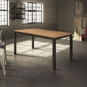 Tavolo vintage allungabile in legno e metallo Henry
