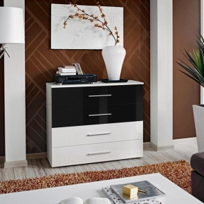 Cassettiera Florida Gihome ® bianca cassetti bianco e nero opaco