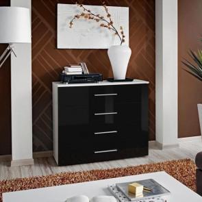Cassettiera Florida bianca cassetti nero lucido