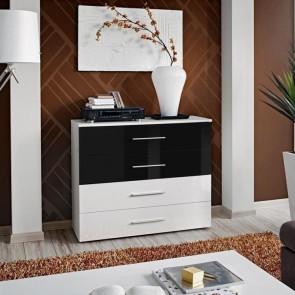 Cassettiera Florida bianca cassetti bianco e nero lucido