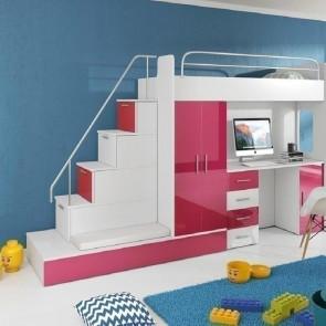 Cameretta per bambini Diego bianco e rosa