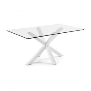 Tavolo vetro Argo con gambe bianche