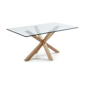 Tavolo vetro Argo con gambe effetto legno