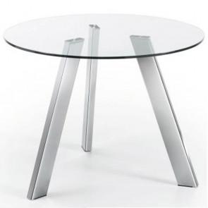 Tavolo vetro Carib con gambe cromate 110