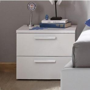 Comodino 2 cassetti Enjoy bianco maniglie bianche
