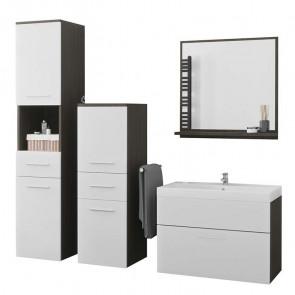 Mobile bagno Gopsi wengè bianco opaco 2 colonne specchio