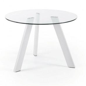Tavolo vetro Carib con gambe bianche 110