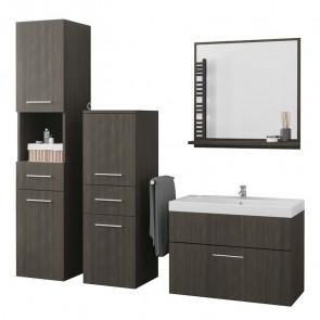 Mobile bagno Gopsi wengè sospeso 2 colonne specchio