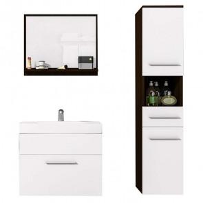 Mobile bagno Leder sospeso wengè e bianco opaco specchio
