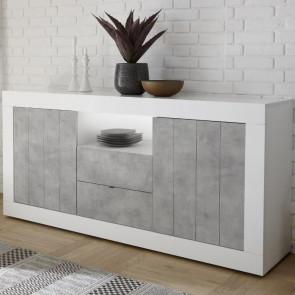Madia 2 ante 2 cassetti Urbino Bianco Lucido Cemento