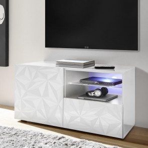 Base TV 1 anta 1 cassetto Prisma bianca con serigrafia