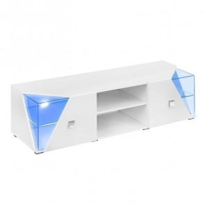Porta tv soggiorno Malibu bianco opaco bianco lucido con led a giorno e ante