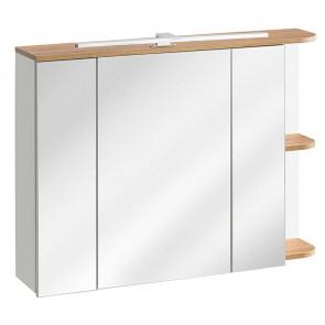 Mobile specchio bagno Vacone 90 rovere bianco lucido