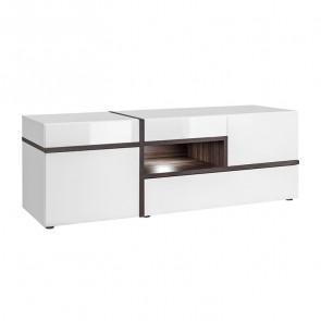 Porta tv soggiorno Mackay Gihome ® bianco opaco bianco lucido moderno