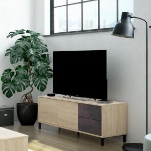 Porta tv 2 ante 2 cassetti rovere ossido